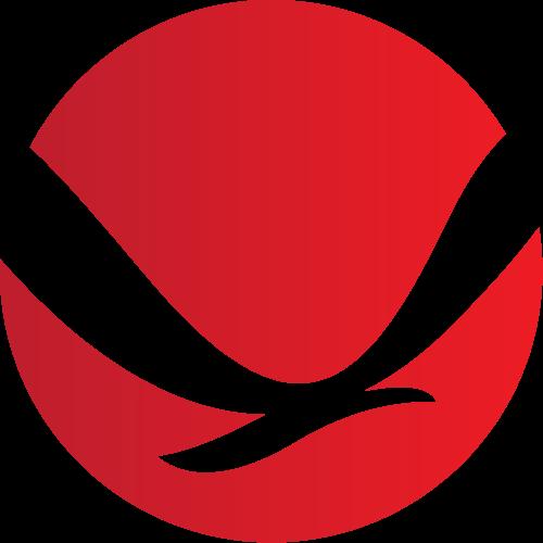 红色渐变负空间飞鸟矢量图标志素材矢量logo