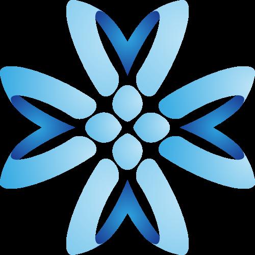 蓝色花朵形矢量图logo素材矢量logo