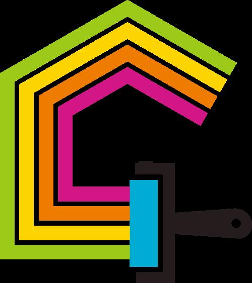 房屋住宅油漆刷矢量图标志素材矢量logo
