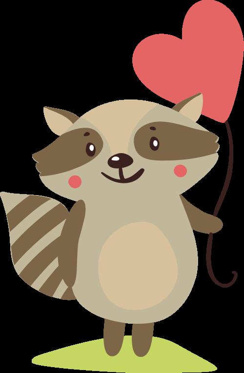 爱心气球小浣熊动物矢量图logo素材矢量logo