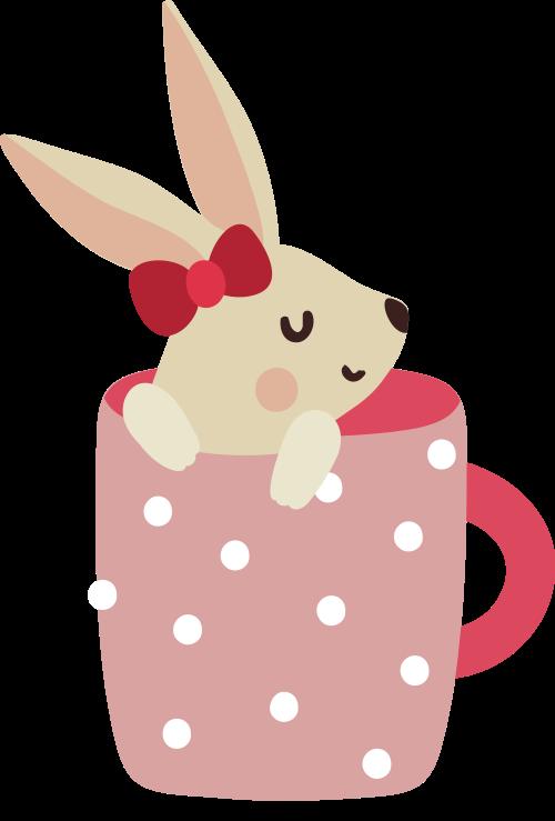 杯子里的小兔子矢量图标志素材矢量logo