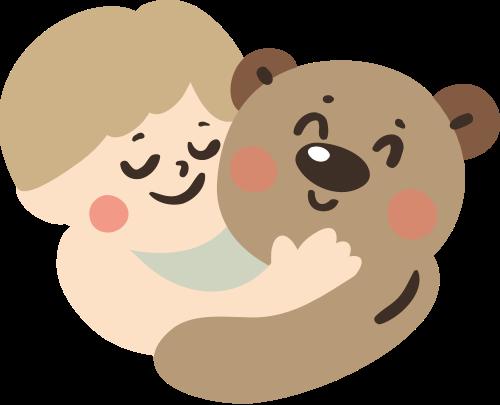 儿童和熊矢量图标志素材矢量logo