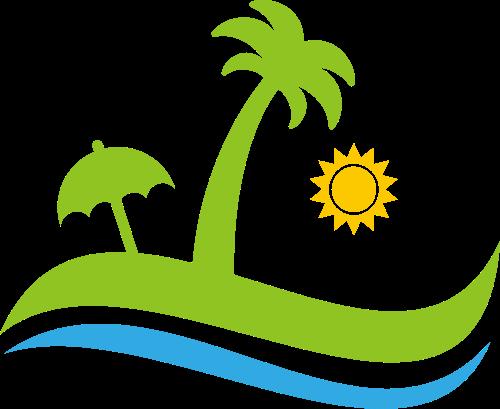 沙滩椰树矢量图商标素材矢量logo