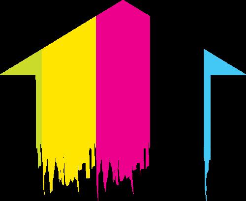 房屋箭头油漆矢量图标志素材矢量logo