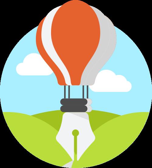热气球钢笔矢量图商标素材矢量logo