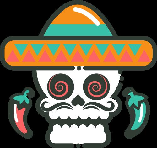 辣椒骷髅墨西哥餐厅logo设计矢量logo