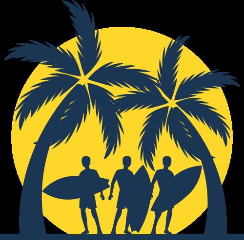 海滩椰树冲浪矢量图标志素材矢量logo