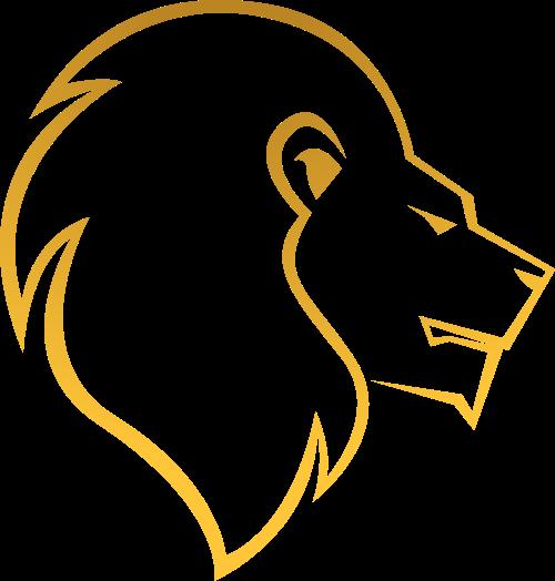 金色线条狮子头矢量图logo素材矢量logo