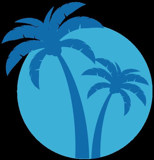 蓝色海滩椰子树logo图标矢量logo