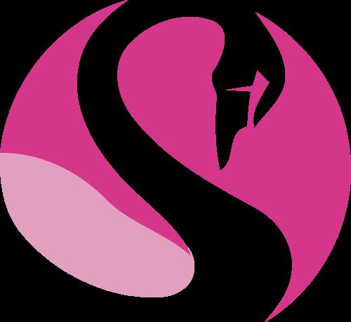圆形粉色天鹅矢量图案