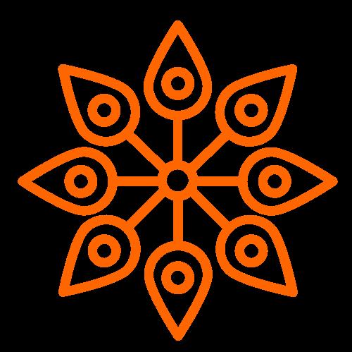 橙色印度瑜伽花瓣矢量图案矢量logo