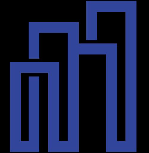 蓝色线条城市高楼建筑矢量图标矢量logo