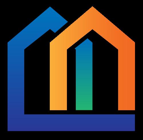 抽象彩色线条高楼建筑矢量标识矢量logo
