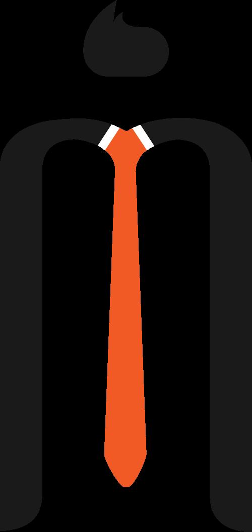 商务领带字母M矢量图标