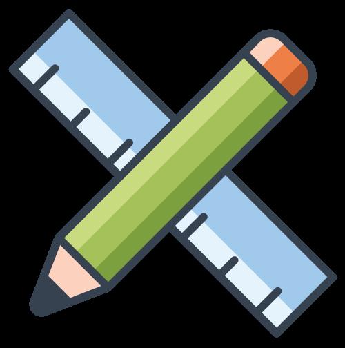 铅笔尺子设计相关图标矢量logo