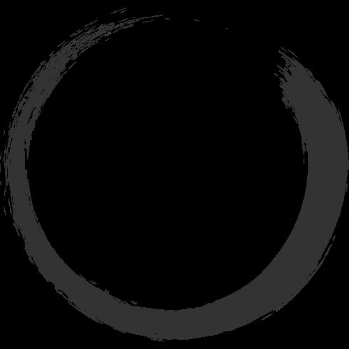 中国风毛笔书法圆形图标