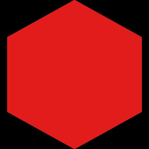 红色极简六边形矢量图标