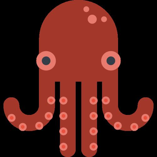 红色卡通章鱼矢量logo图标矢量logo