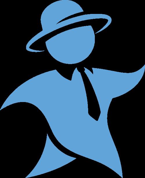 蓝色卡通人形矢量logo图标