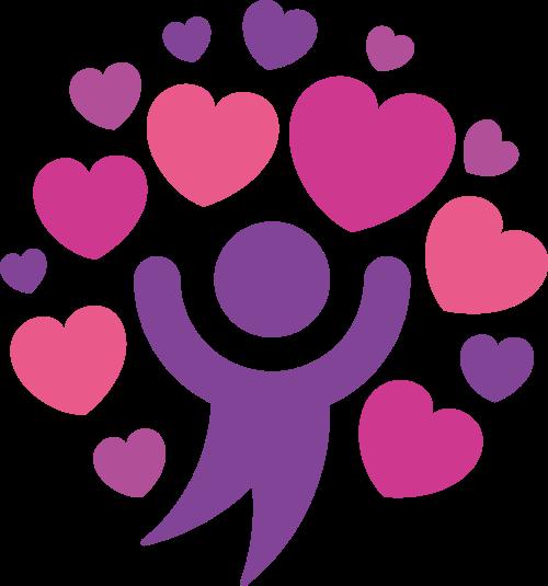 粉色爱心人形跳舞矢量logo素材