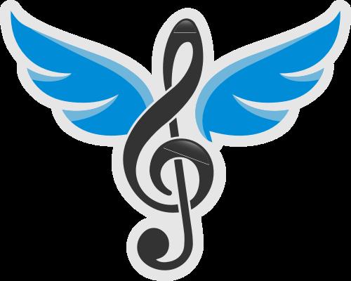 卡通翅膀音乐符号相关矢量logo图标矢量logo