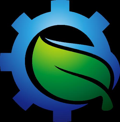 绿叶齿轮创意想法矢量logo图标矢量logo