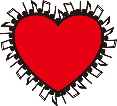 红色爱心和音乐符号矢量logo素材