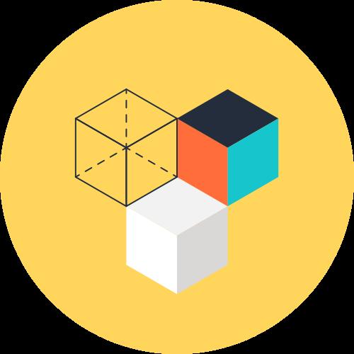 黄色3d立方体抽象矢量图标素材矢量logo