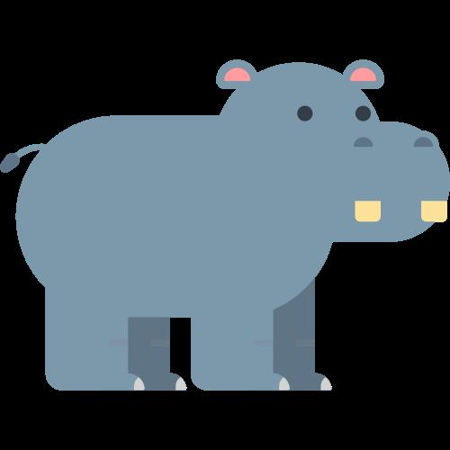 灰色可爱小河马logo图标矢量logo