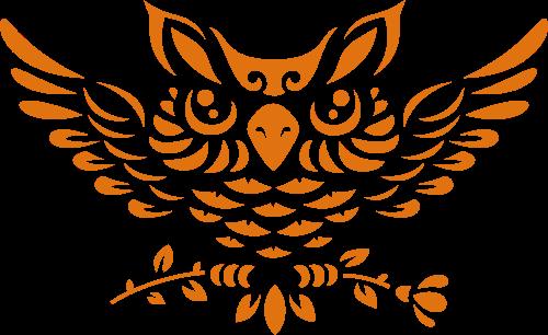 橙色猫头鹰元素矢量LOGO图标矢量logo