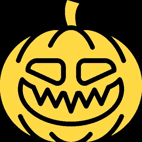 黄色南瓜万圣节搞怪矢量logo图标