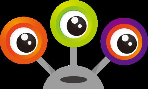 卡通彩色三眼创意矢量图标矢量logo