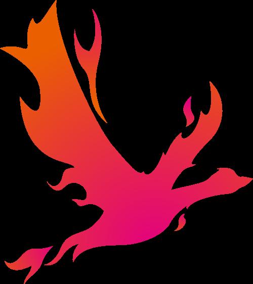 橙色火形飞鸟矢量LOGO素材