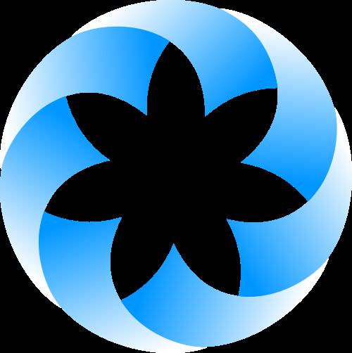 蓝色渐变圆形花瓣矢量LOGO素材