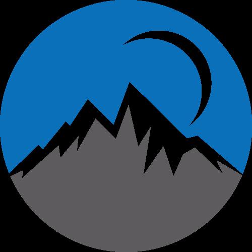 蓝色山峰月亮风景环保旅游相关矢量logo图标矢量logo