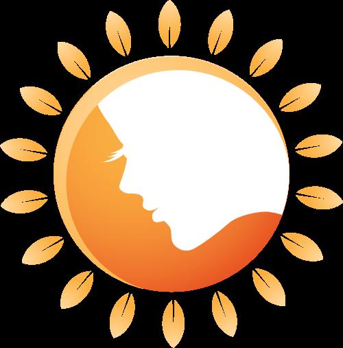 橙色人脸太阳形女性矢量LOGO图标矢量logo
