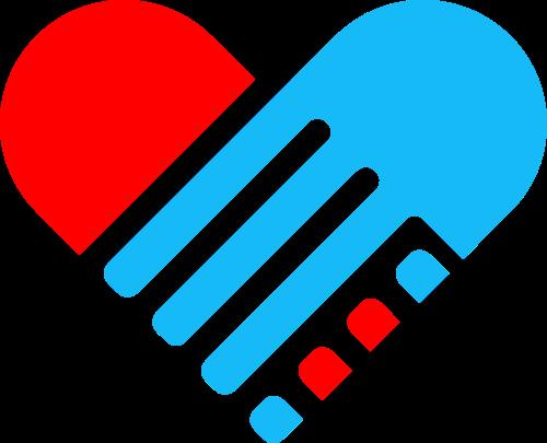 心形团队握手合作矢量logo图标