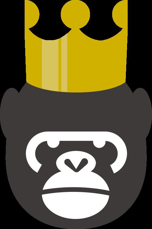 黑色皇冠猩猩娱乐教育影视矢量logo图标矢量logo