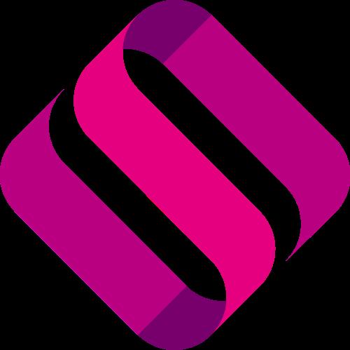 粉色菱形字母S矢量logo素材