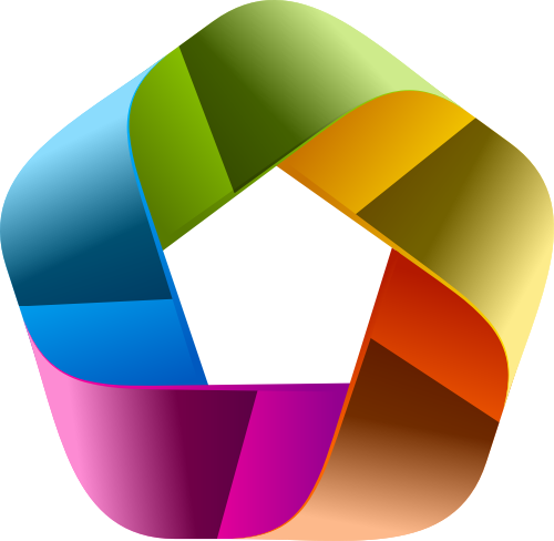 彩色立体五边形互联网应用相关矢量logo图标