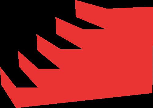 红色立体楼梯矢量logo图标矢量logo