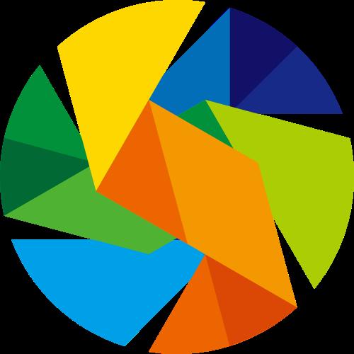 彩色圆形折叠矢量logo素材矢量logo