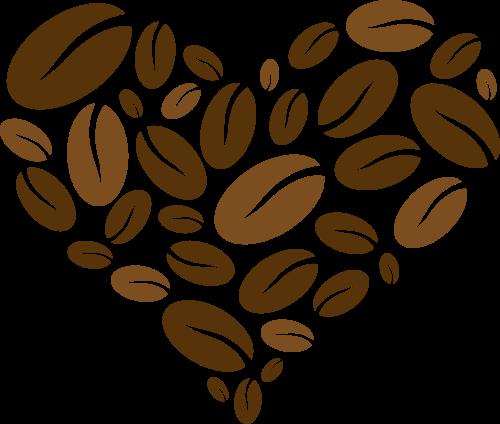 棕色咖啡豆心形矢量logo图标矢量logo