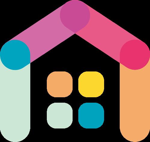 彩色房子家装建材中介矢量logo图标矢量logo