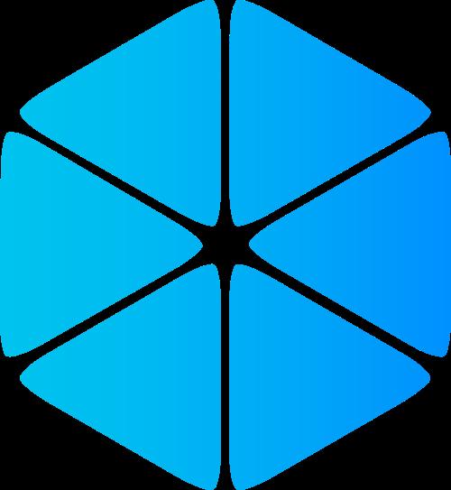 蓝色六边形渐变商务贸易相关矢量logo图标