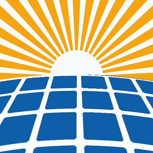 黄色太阳蓝色方格矢量logo图标