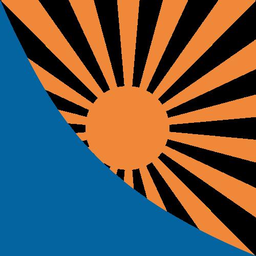橙色太阳蓝色背景矢量logo图标