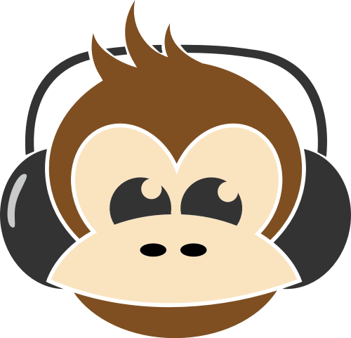 猴子戴耳机矢量logo图标
