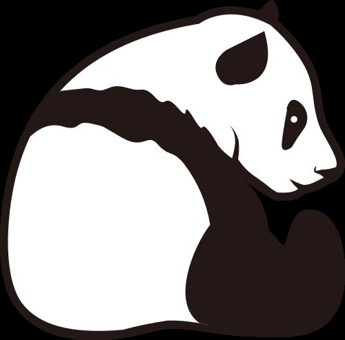 黑白熊猫矢量logo图标