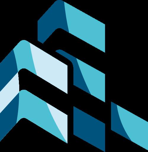 蓝色建筑矢量logo图标